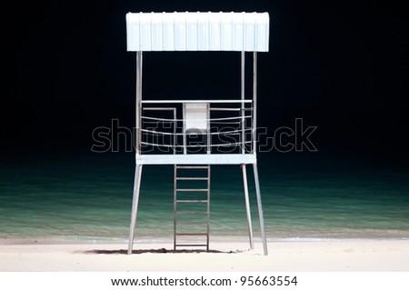 Lifeguard Post On The Beach at night - stock photo