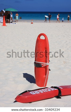 Lifeguard rescue on beach - stock photo