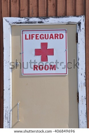 Lifeguard room sign on the door - stock photo