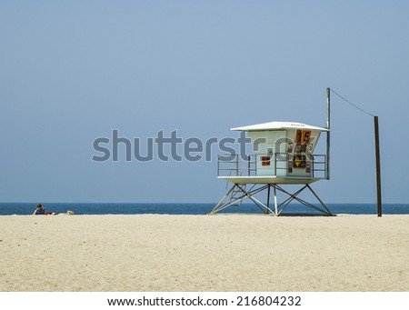 Lifeguard station at California Beach - stock photo