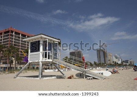 Lifeguard station on south beach fort Lauderdale florida America usa construction can be seen in the background on south ocean boulevard taken in march 2006