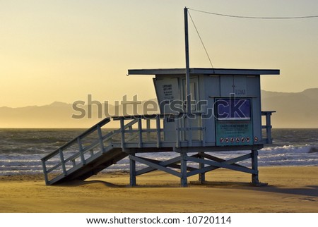 Lifeguard Station on Venice Beach in California - stock photo