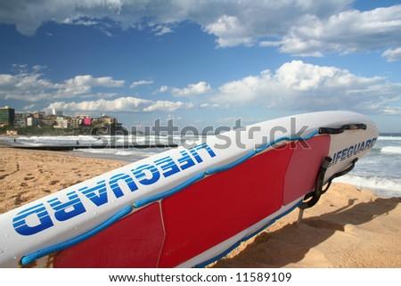 LIFEGUARD SURFBOARD - stock photo