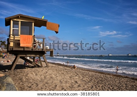 Lifeguard Tower at San Clemente Pier Southern California - stock photo