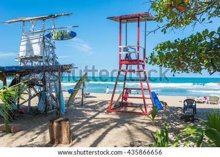 Lifeguard tower at surfer beach - stock photo