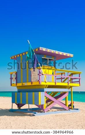 Lifeguard Tower in South Beach, Miami Beach, Florida - stock photo