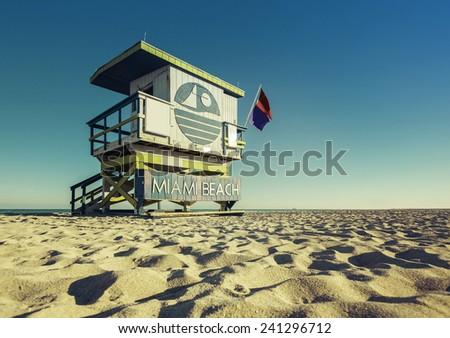 Lifeguard Tower low angle shoot, Miami Beach, Florida - stock photo