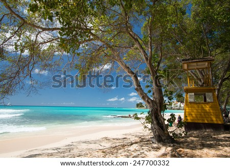 Lifeguard Tower on a tropical caribbean beach with Blue Sky and Turquoise Water  - stock photo