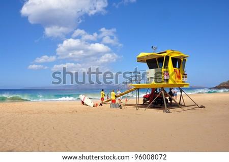 Lifeguard tower on the Makena Big beach on Maui, Hawaii - stock photo