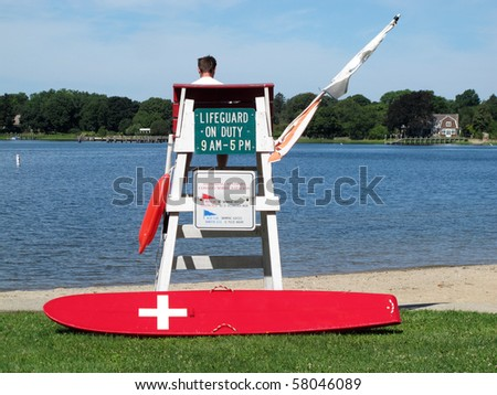 lifeguard with equipment - stock photo