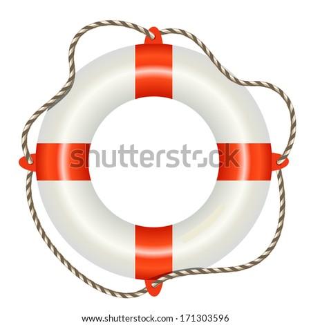 Lifesaver buoy isolated on white background - stock photo