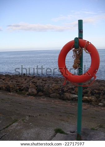 Lifesaver off coast of Dublin, Ireland - stock photo