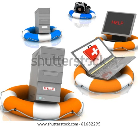 lifesavers for PC, monitor, camera and laptop - stock photo
