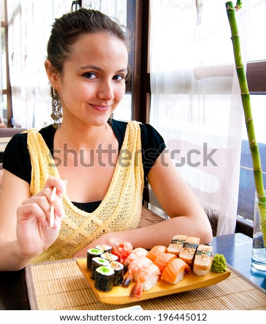 Lifestyle Girl At a Restaurant  - stock photo