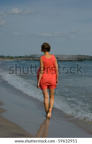 Lifestyle picture showcasing young blonde girl - stock photo