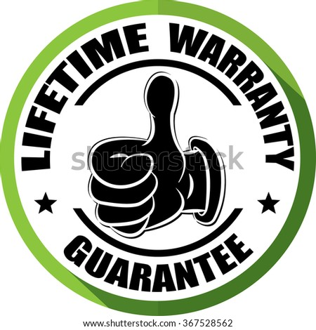 Lifetime warranty guarantee green, Button, label and sign. - stock photo