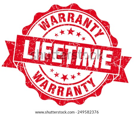 lifetime warranty red grunge seal isolated on white - stock photo