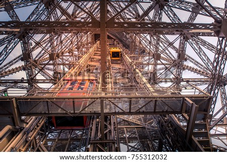 Lift of the Tour Eiffel in Paris - Europe - France