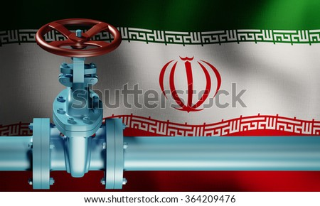 Lifting of sanctions against Iran. Oil pipe in front of the Iranian flag. Extraction of oil. - stock photo