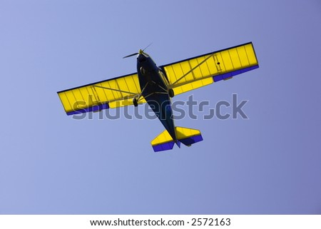 Light aircraft landing - stock photo