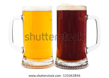 Light and brown beer in two glasses isolated over white background - stock photo
