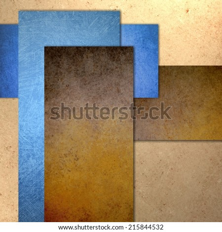 light and dark brown beige and blue report cover background with texture, grunge, soft lighting, graphic art design layout, blank text box image, abstract rectangle background blocks  - stock photo