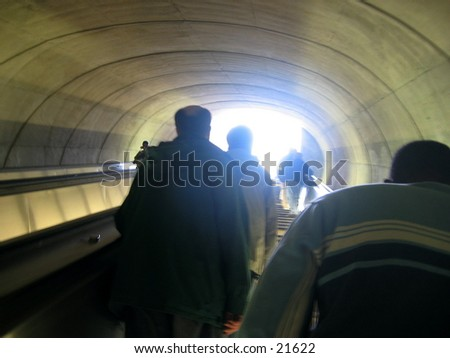 Light at the end of a tunnel. - stock photo