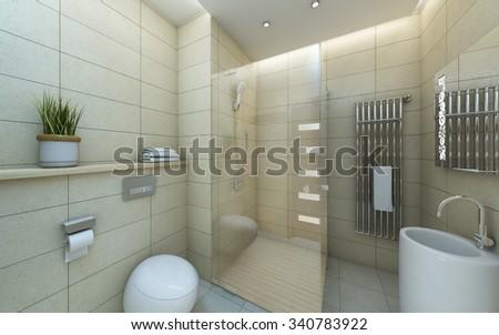 Light Bathroom Beige White Tile 3d Rendering - stock photo