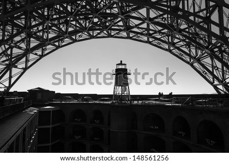 Light beacon under the super structure of the Golden Gate Bridge in San Francisco