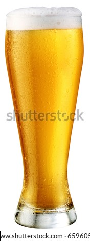 light beer; object on a white background - stock photo