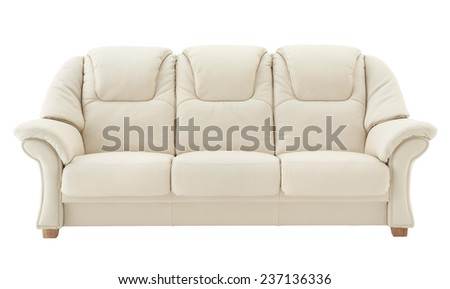 Light beige genuine leather sofa for three persons.  - stock photo