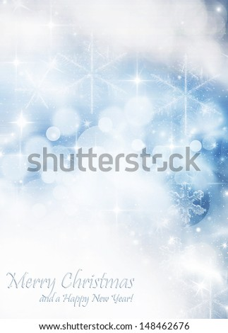 Light blue abstract Christmas background with white snowflakes - stock photo