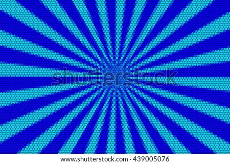 Light blue and dark blue rays from the middle with hexagonal pattern