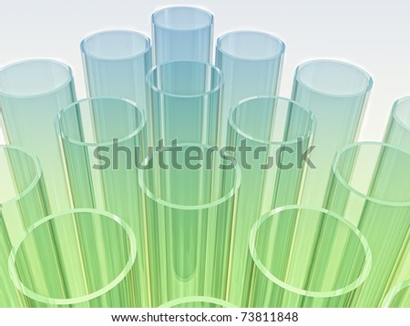 light blue and green laboratory test tubes on white background