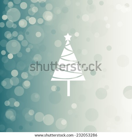 light blue background for winter with cristmas tree - stock photo