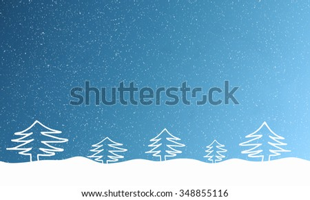 Light blue background with falling snowflakes and fur trees in the snowdrift. Free space for text. Raster illustration