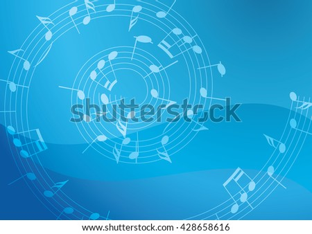 light blue background with spiral music decoration - stock photo