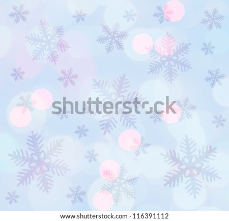 Light blue  christmas background with snowflakes - stock photo