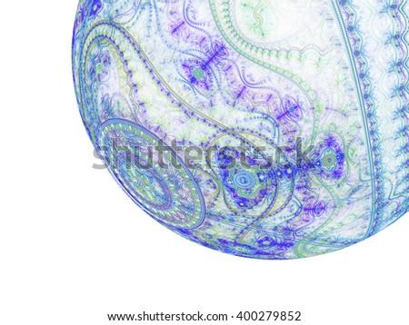 Light blue clockwork fractal bubble, digital artwork for creative graphic design - stock photo