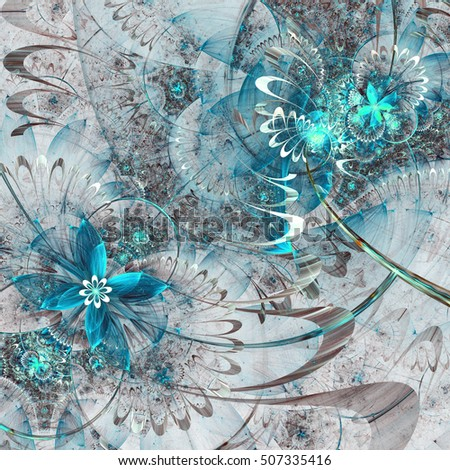Light blue fractal flowers, digital artwork for creative graphic design