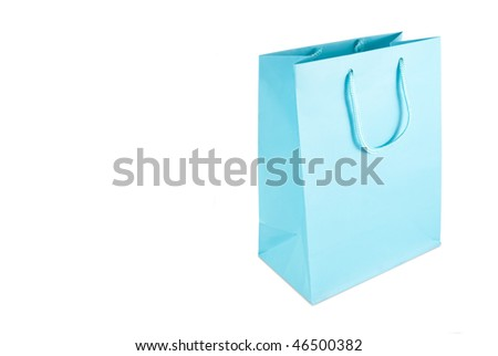 Light blue gift bag isolated on a white background - stock photo