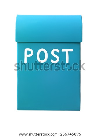 Light Blue mailbox isolated on a white background - stock photo
