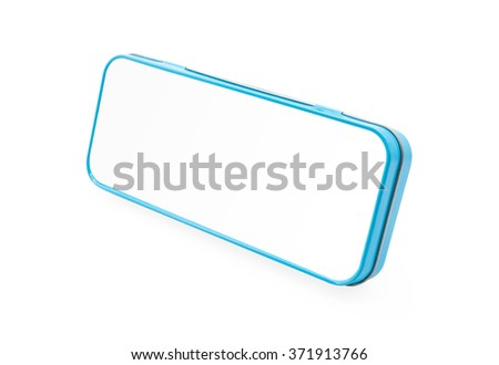 Light blue pencil box on white background. - stock photo