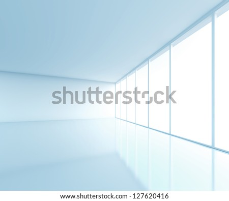 light blue room with window - stock photo