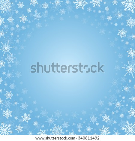 Light blue square background with frame of white elegant snowflakes for Christmas and New year, with place for text. - stock photo