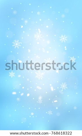 Light BLUE vertical cover with beautiful snowflakes. Glitter abstract illustration with crystals of ice. The pattern can be used for year new  websites.