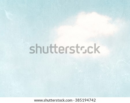 Light blue watercolor sky with single cloud - pastel vintage sky - soft pale retro design