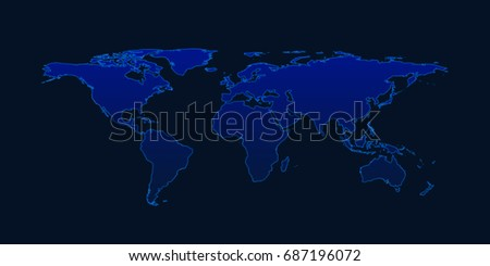 Light blue world map on dark stock photo 687196072 shutterstock light blue world map on dark blue background elements of this image furnished by nasa sciox Image collections