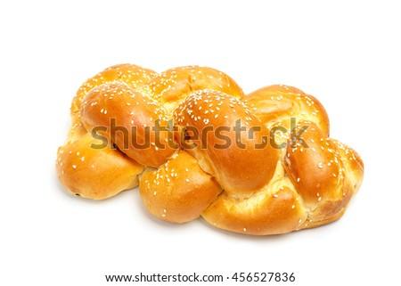 Light braided shabbath challah isolated on white background - stock photo