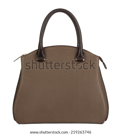 Light brown leather female purse isolated on white - stock photo